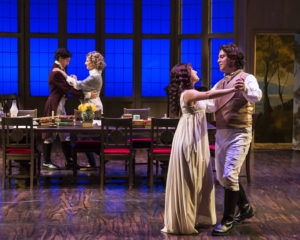 Richy Storrs (Augutus Coverly/Gus Coverly), Susan Angelo (Hannah Jarvis), Erika Soto (Thomasina Coverly), and Rafael Goldstein (Septimus Hodge). Photo by Craig Schwartz.