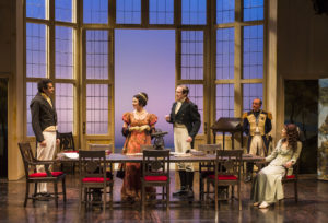 Jeremy Rabb (Ezra Chater), Abby Craden (Lady Croom), Eric Curtis Johnson (Richard Noakes), Stephen Weingartner (Captain Brice), and Erika Soto (Thomasina Coverly). Photo by Craig Schwartz.