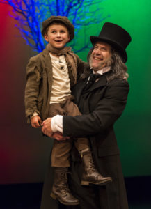 Damaso Rodriguez (Tiny Tim) and Geoff Elliott (Scrooge) in ANW's A Christmas Carol 2012.
