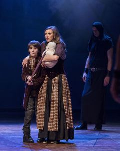 Theo Taplitz (Macduff's Son) and Katie Pelensky (Lady Macduff) in ANW's production of Macbeth. Photo by Craig Schwartz.