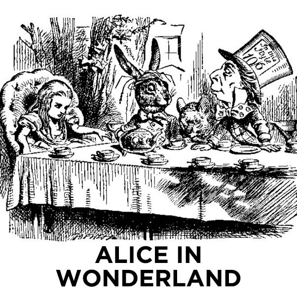 A black and white illustration of Alice's tea party with the March Hare and Mad Hatter. ALICE IN WONDERLAND.