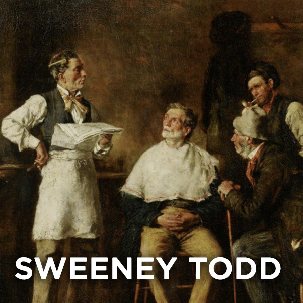 A painting of four men in a barber shop as one waits for a shave. SWEENEY TODD.