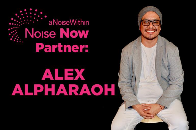 Noise Now Partner: Alex Alpharaoh. Alex sits on a stool against a black backdrop.