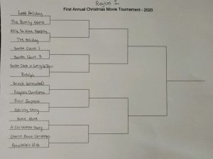 Region 1 First Annual Christmas Movie Tournament 2020 featuring brackets of Christmas movies pitted against each other. Last Holiday versus The Family Stone. While You Were Sleeping versus The Holiday. Santa Claus 1 versus Santa Claus 3. Santa Claus is Coming to Town versus Rudolph. Grinch (animated) versus Angela's Christmas. Polar Express versus Nativity Story. Home Alone versus A Christmas Story. Charlie Brown Christmas versus Annabelle's Wish.