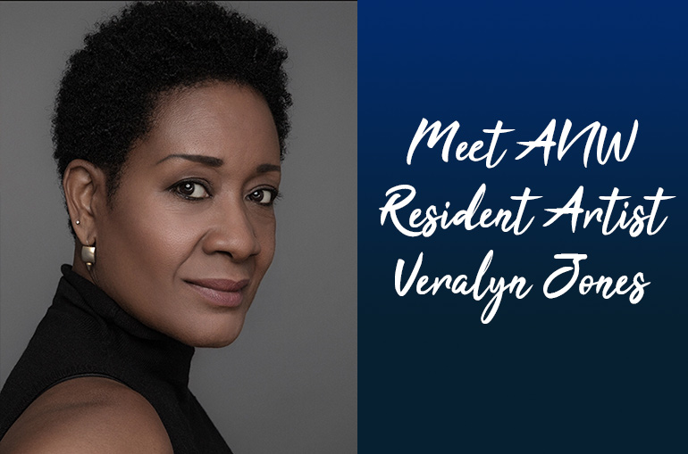 A headshot of Veralyn Jones wearing a black turtleneck and pearl earrings. White cursive on a blue to navy blue gradient reads Meet ANW Resident Artist Veralyn Jones.
