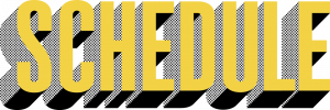 The word schedule in tall gold font that three-dimensionally pops out with dotted black shading.
