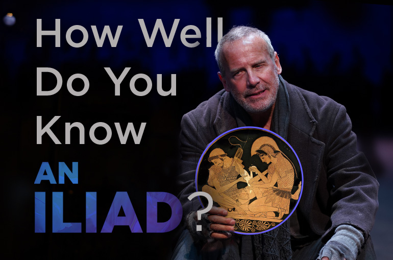 How well do you know An Iliad? An older man with a black overcoat and short gray hair holds up a circle with an orange and black Greek terracotta pottery image of one warrior bandaging another's arm.